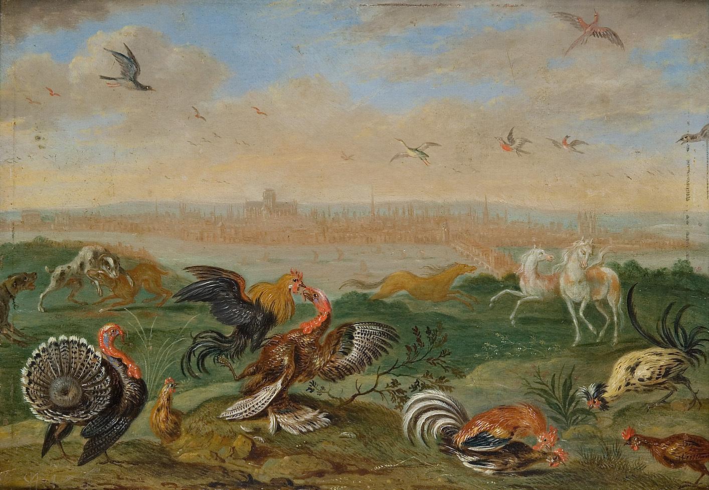 Ansichten aus den vier Weltteilen mit Szenen von Tieren: London von Ferdinand van Kessel