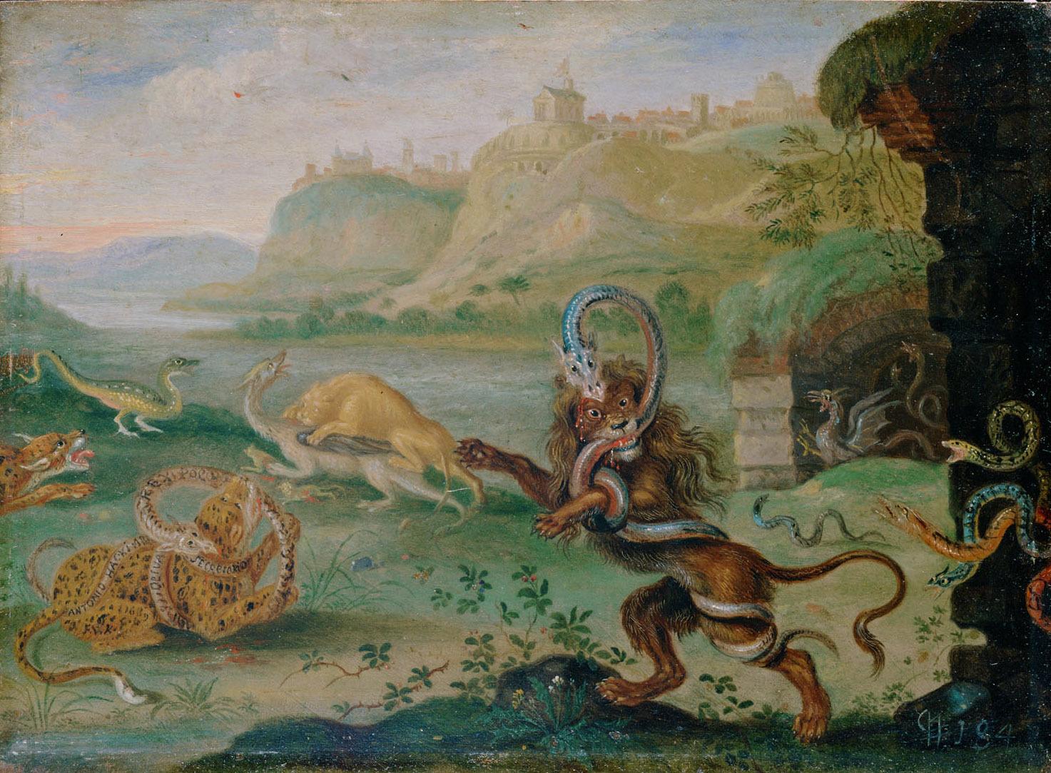 Ansichten aus den vier Weltteilen mit Szenen von Tieren: Sao Salvador do Congo von Ferdinand van Kessel