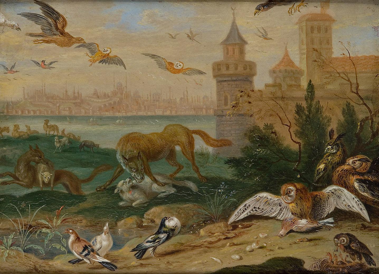 Ansichten aus den vier Weltteilen mit Szenen von Tieren: Konstantinopel von Ferdinand van Kessel