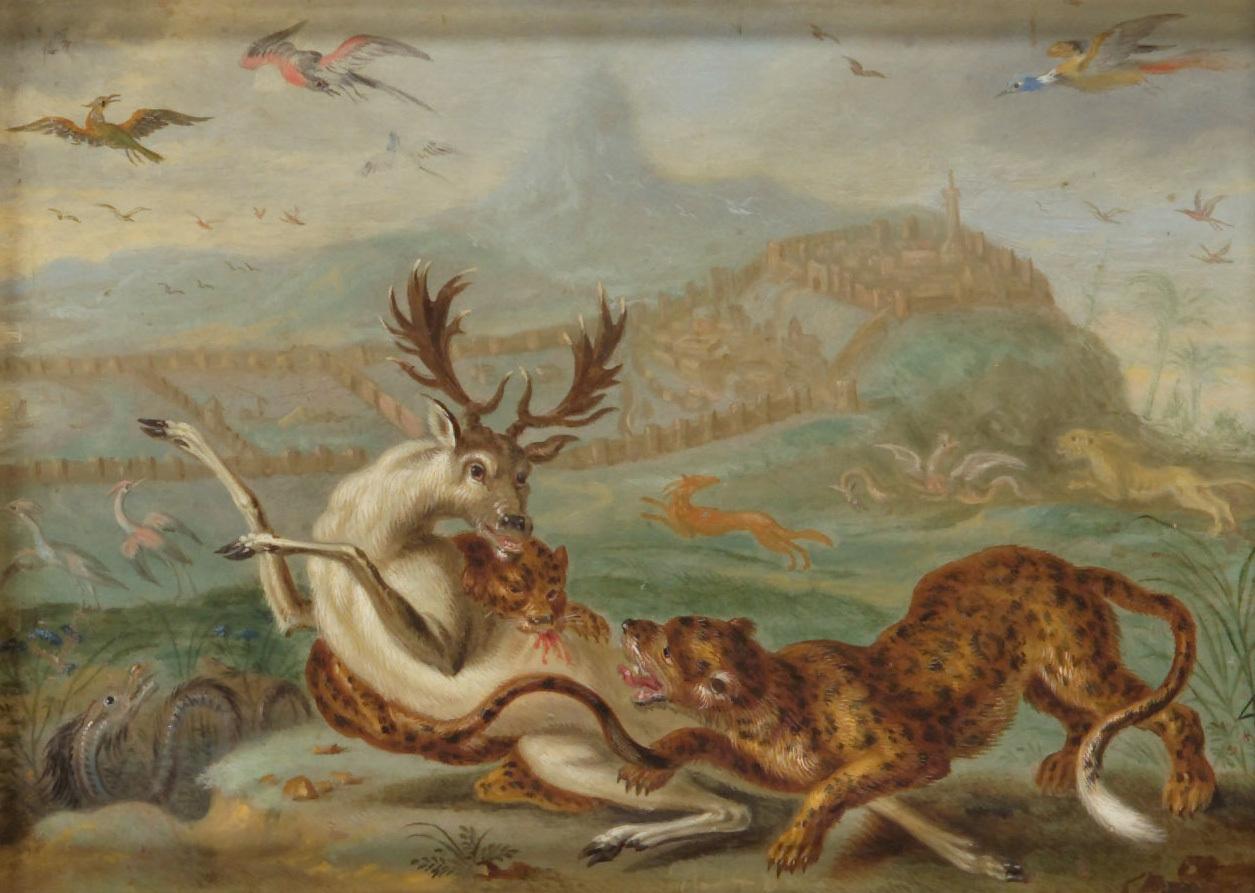 Ansichten aus den vier Weltteilen mit Szenen von Tieren: Derbent (Dagestan) von Ferdinand van Kessel