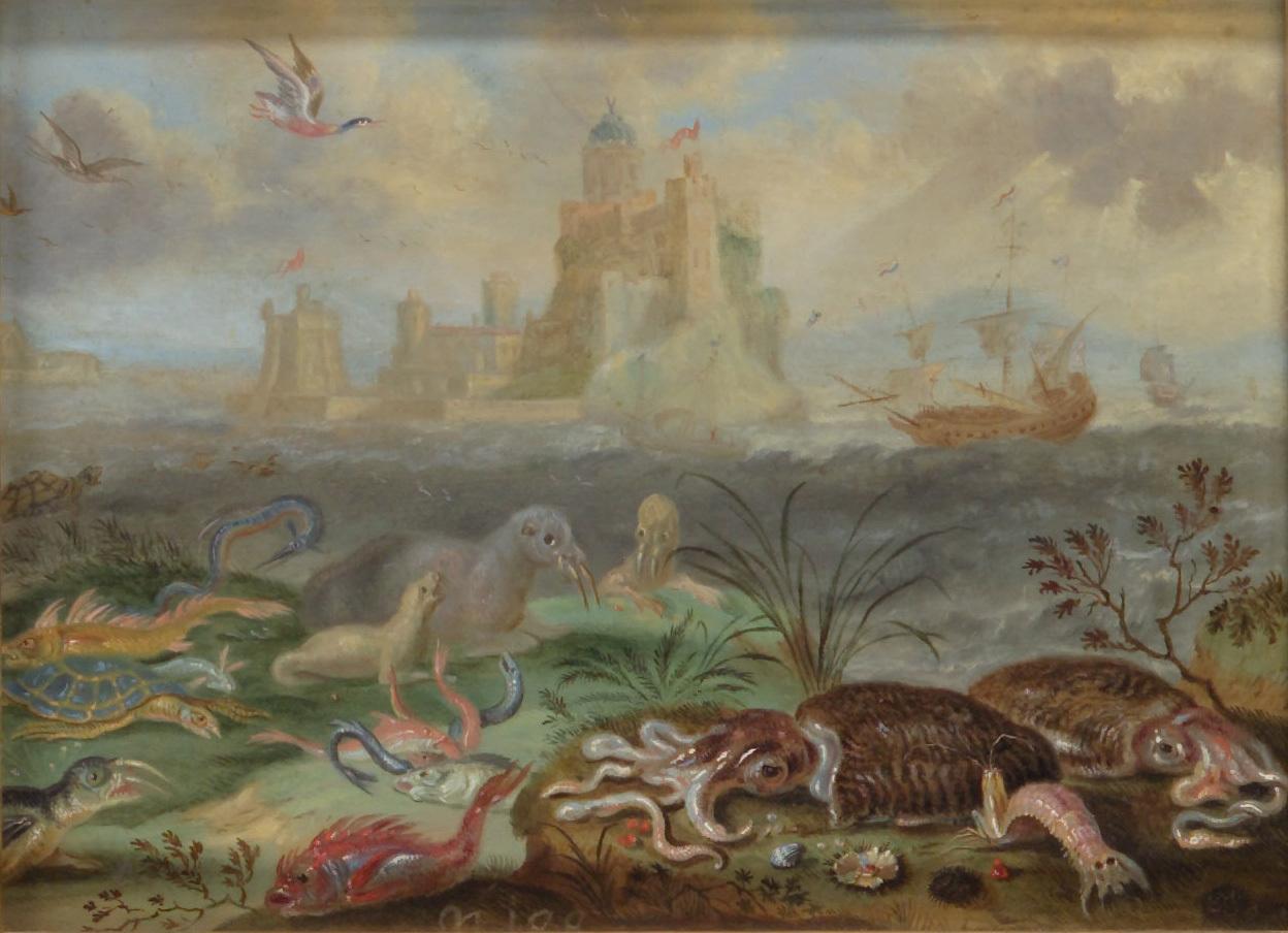 Ansichten aus den vier Weltteilen mit Szenen von Tieren: Bartanico oder Battanico von Ferdinand van Kessel