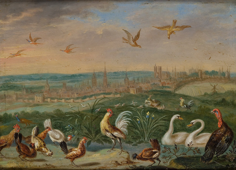 Ansichten aus den vier Weltteilen mit Szenen von Tieren: Brüssel von Ferdinand van Kessel
