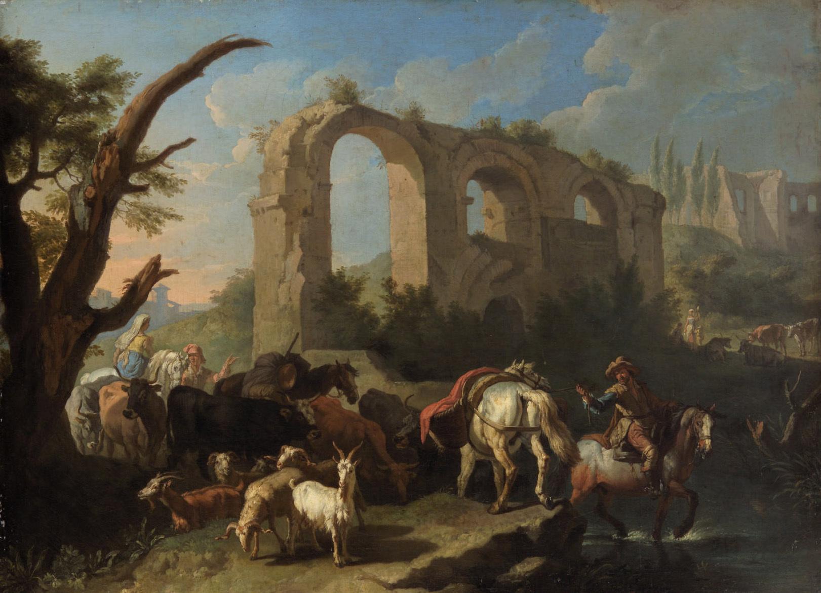 Italienische Landschaft mit Pferden und Hirten von Peeter van Bloemen gen. Standart
