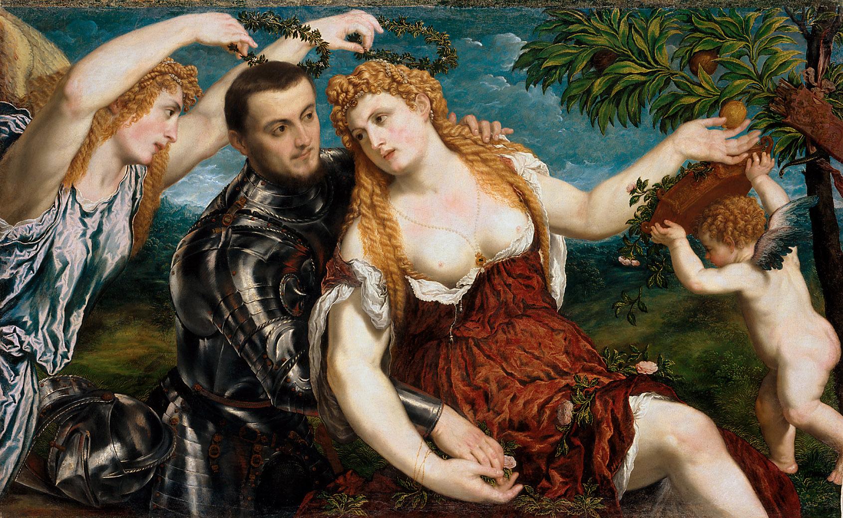 Allegorie (Mars, Venus, Victoria und Cupido) von Paris Paschalinus Bordon, gen. Bordone