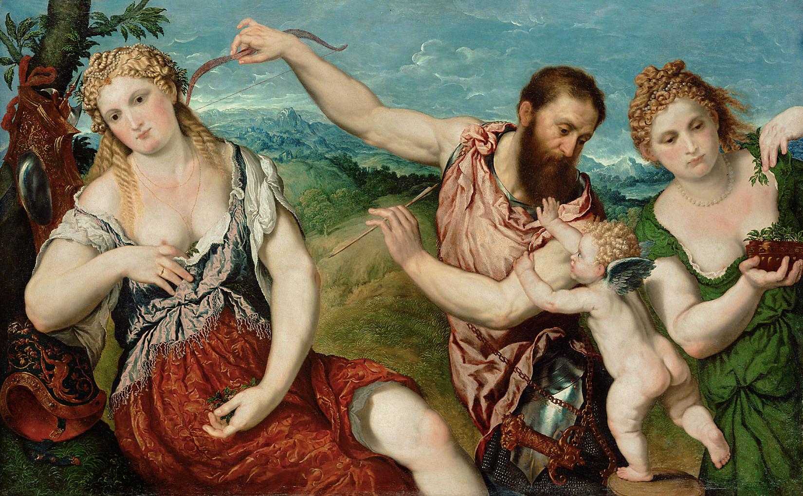 Allegorie (Mars, Venus, Flora und Cupido) von Paris Paschalinus Bordon, gen. Bordone