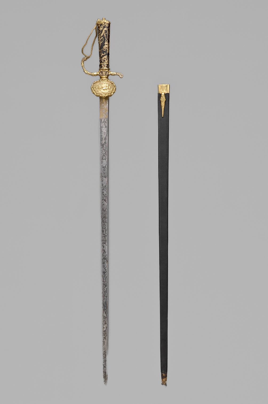 Kleiner Hirschfänger / Hofdegen (samt Scheide) von Kaiser Karl VI. Sohn des Leopold I. von Habsburg Österreich
