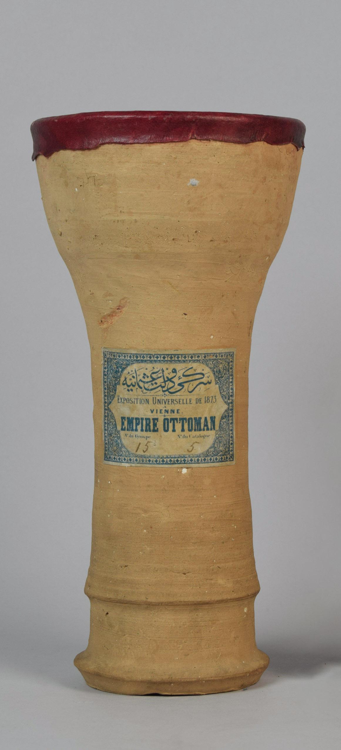 Bechertrommel mit Etikett zur Wiener Weltausstellung 1873