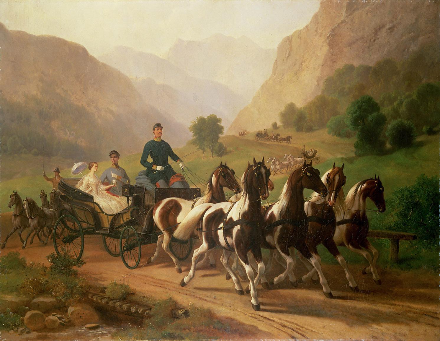 Kaiser Franz Joseph (1830 - 1916) und seine Braut bei einer Ausfahrt in der Umgebung von Ischl von Johann Erdmann Gottlieb Prestel