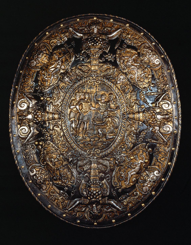 Ergänzungs- und Wechselstücke zum Prunkharnisch (Inv. Nr. A 1132) für Mann und Ross: Rundschild von Herzog Alessandro Farnese