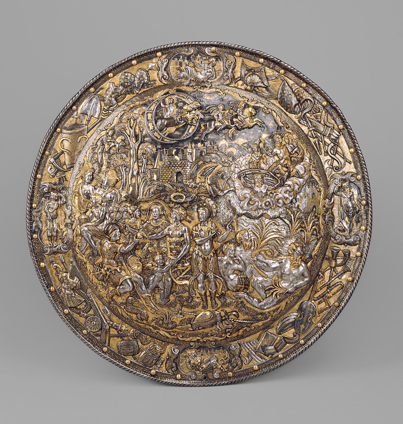 Rundschild aus einem all'antica Ensemble von Kaiser Maximilian II., Sohn des Ferdinand I. von Habsburg Österreich