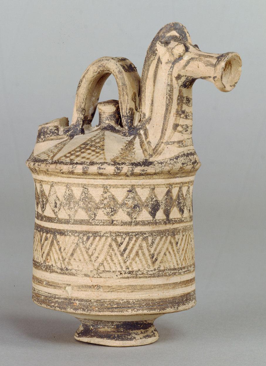 Askos mit Pferdekopfprotome der Proto-White Painted Ware