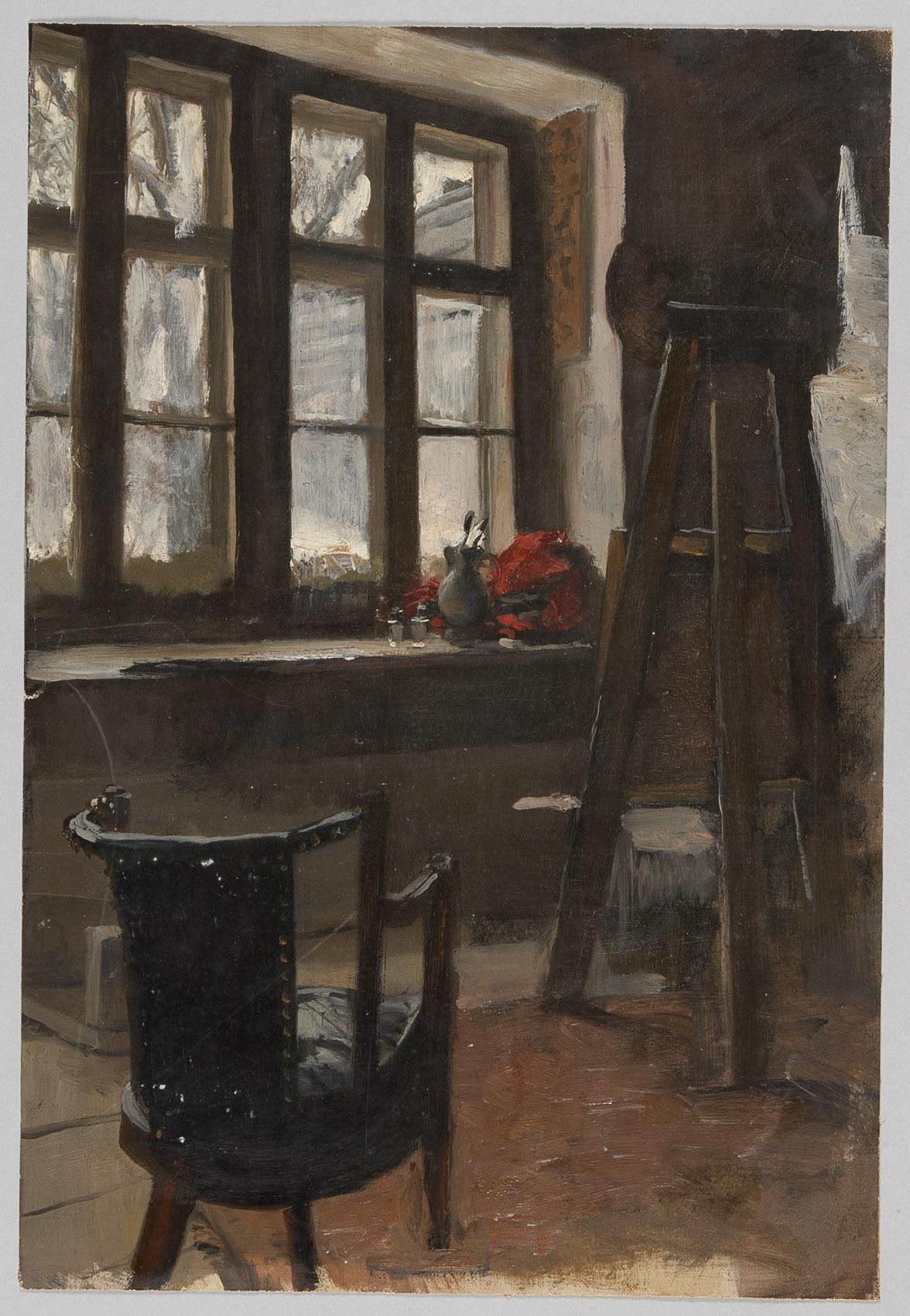 Interieur mit Staffelei von Alfred Roller