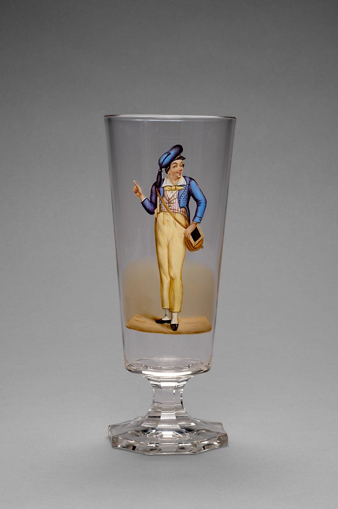 Trinkgefäß mit der Abbildung Nestroys als Willibald von Johann Nepomuk Nestroy