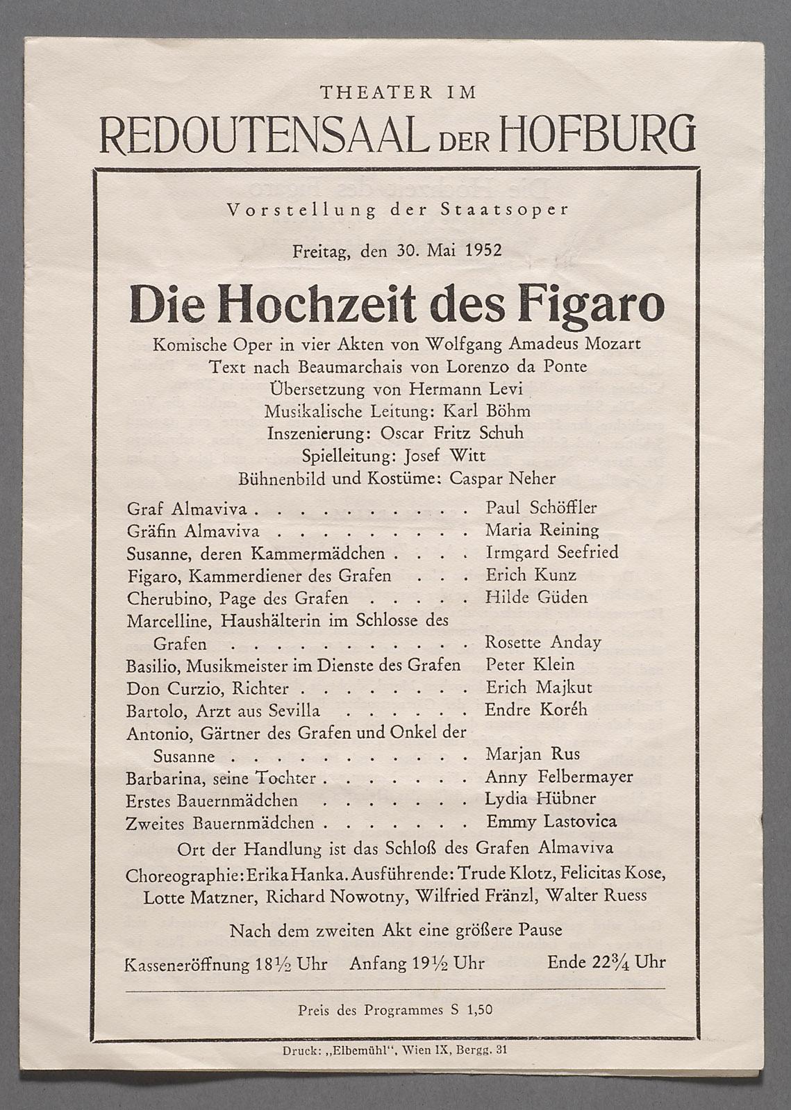 Die Hochzeit des Figaro von Wolfgang Amadeus Mozart