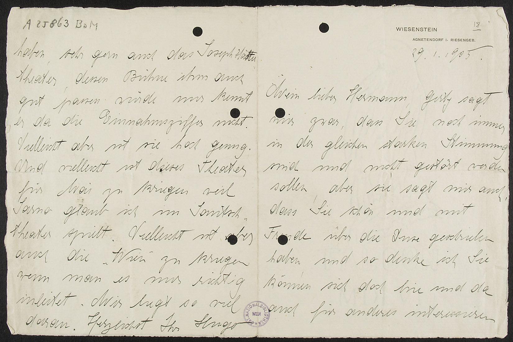 Brief von Hugo von Hofmannsthal