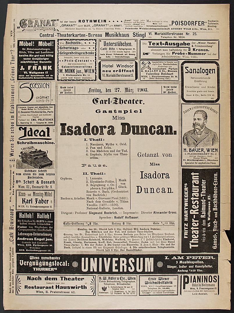 Gastspiel Miss Isadora Duncan von Isadora Duncan
