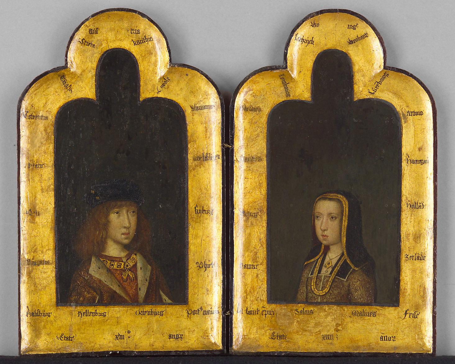 Diptychon: König Philipp I. der Schöne (1478-1506) als Sechzehnjähriger und Margarethe, die Schwester König Philipps I. des Schönen, im 14. Lebensjahr von Meister der St. Georgsgilde