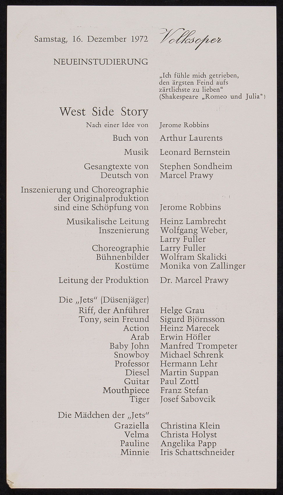 West Side Story von Leonard Bernstein