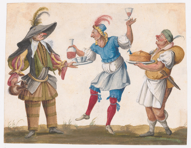 Drei Komödienfiguren von Lodovico Ottavio Burnacini