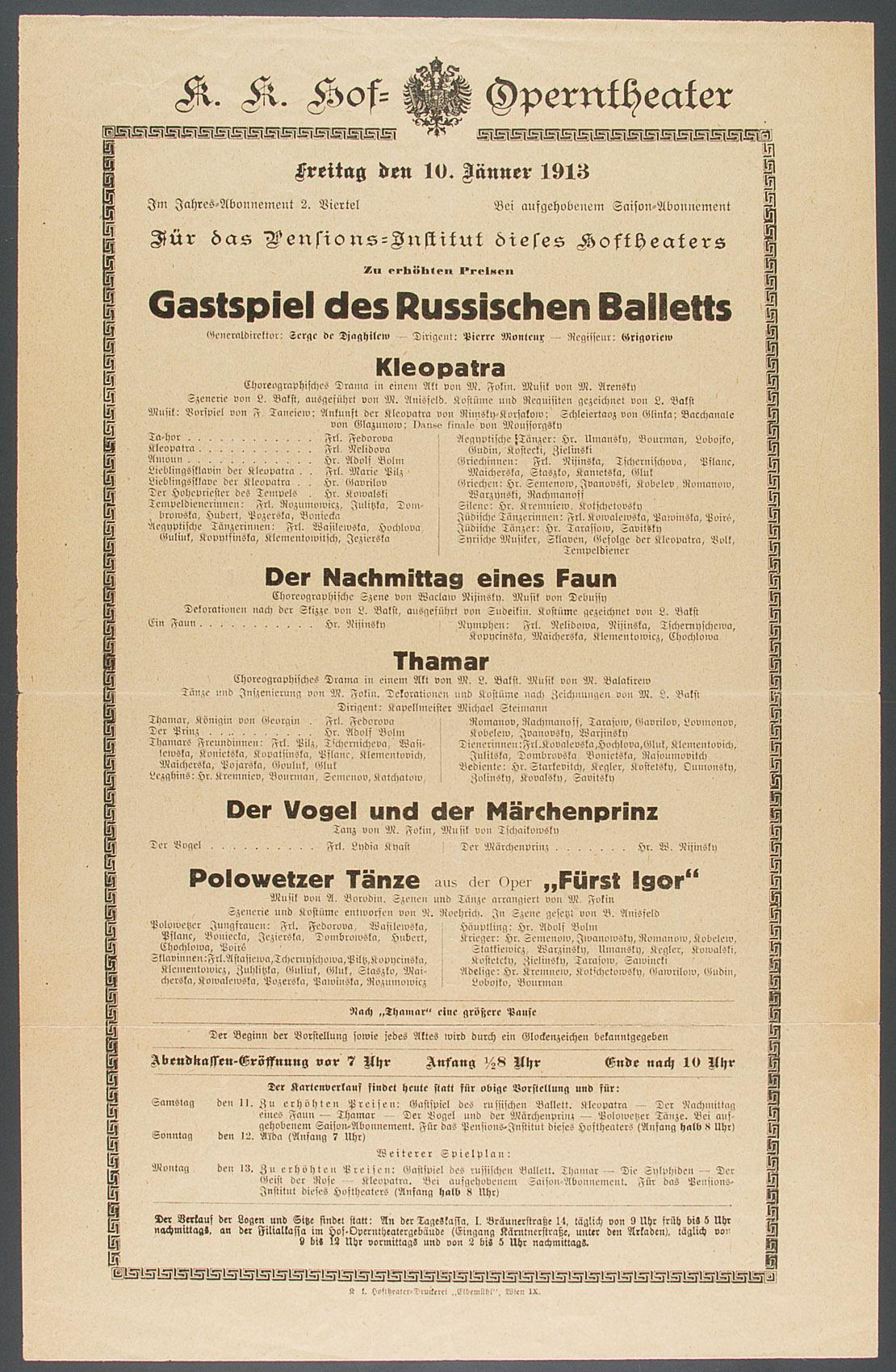 Russisches Ballett von Ballets Russes