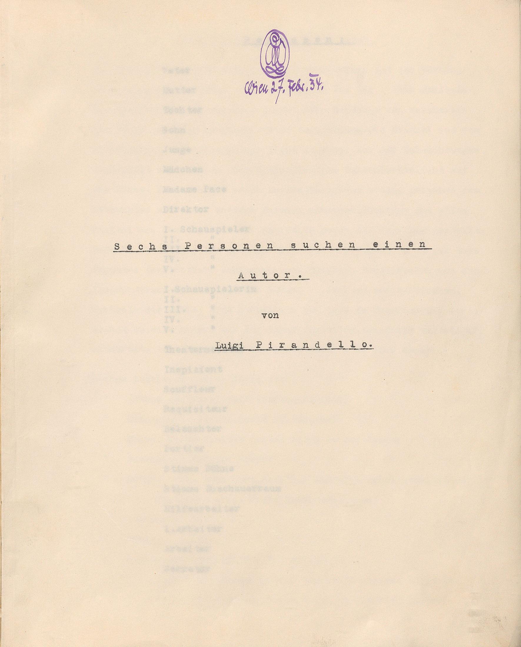Sechs Personen suchen einen Autor von Max Reinhardt