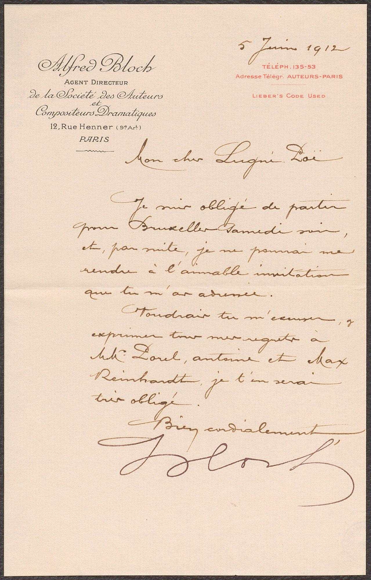 Brief von Alfred Bloch