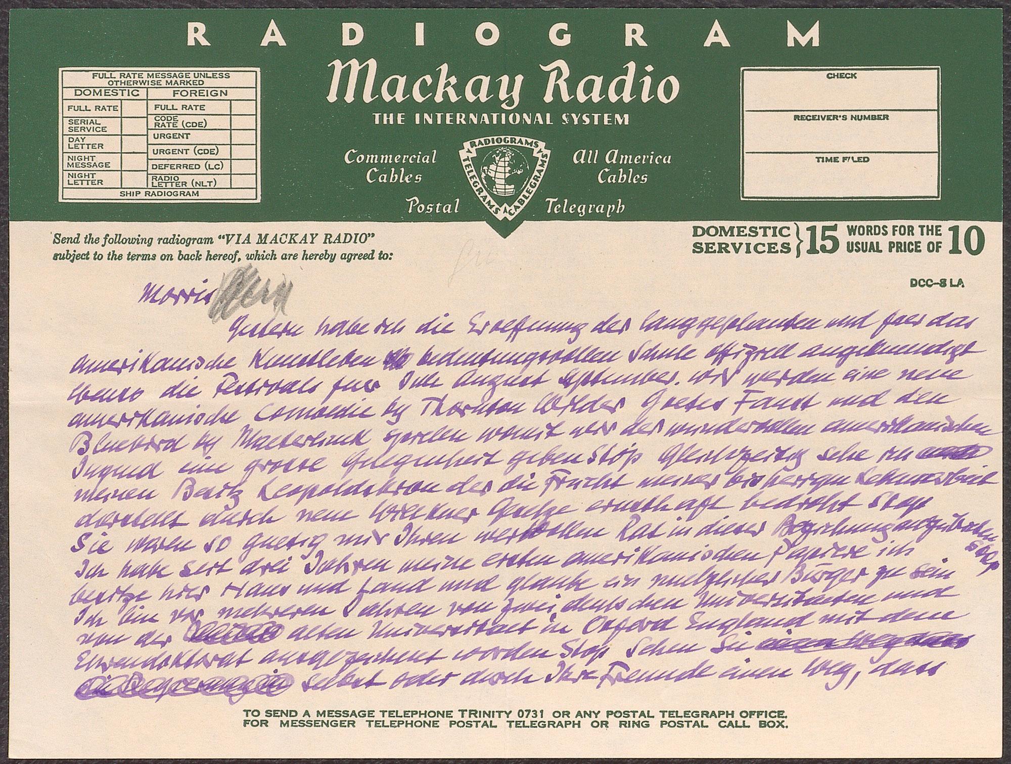 Telegramm von Max Reinhardt
