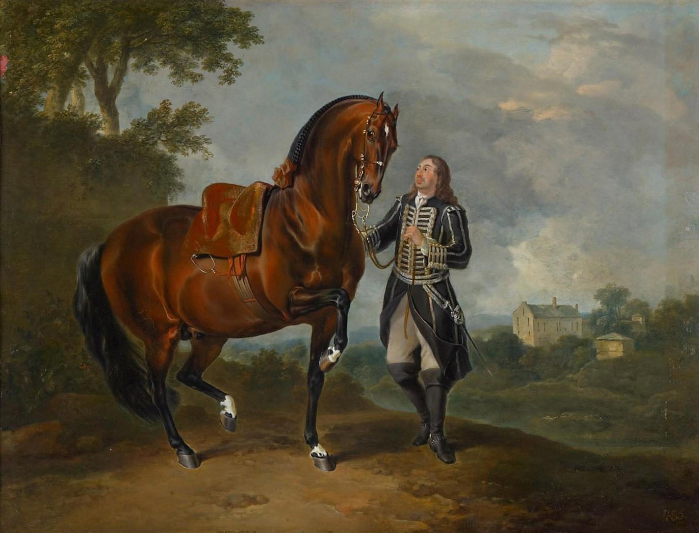 Hengst in der Piaffe mit einem Bereiter von Johann Georg de Hamilton