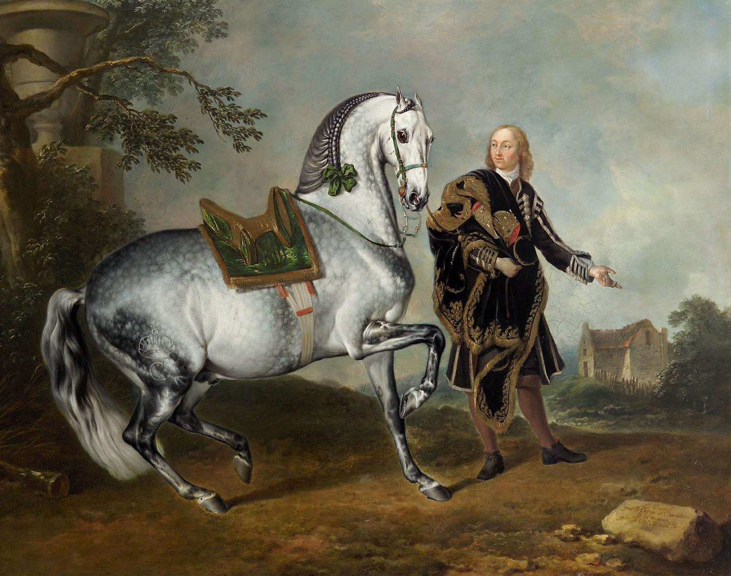 """Kladruber Hengst """"Scarramuie"""" mit einem Bereiter von Johann Georg de Hamilton"""