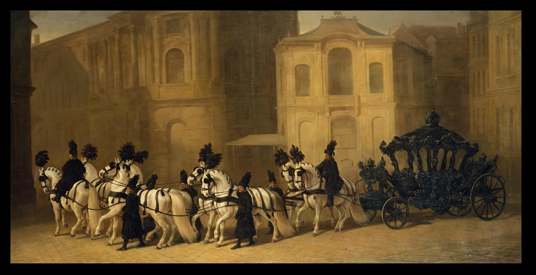 Trauer-Huldigungswagen (W 2) mit Achterzug, Stangen- und Vorausreiter sowie fünf Mitteljungen, vor dem alten Burgtheater von Johann Erdmann Gottlieb Prestel