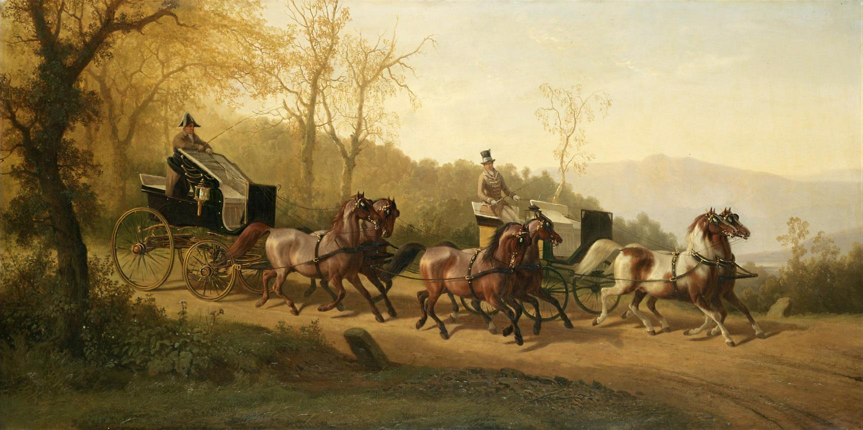 Kutschierwagen (Phaeton) mit Braunen im Viererzug und Kutscher im Caput, dahinter Kutschierwagen mit Schecken im Paarweiszug und Kutscher in englischer Livrée von Johann Erdmann Gottlieb Prestel