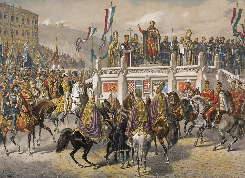Kaiser Franz Joseph bei der Ablegung des ungarischen Krönungseides 1867 von Vinzenz Katzler