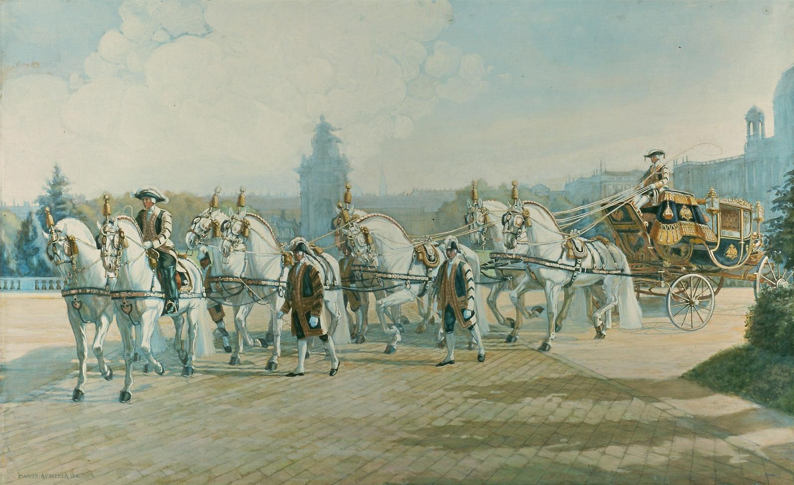 Der Gala-Staatswagen Kaiser Franz Josephs bei der Rückkehr in die Hofstallungen von Mariza Büngener