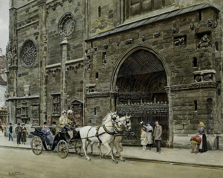 Kaiser Franz Joseph und Generaladjutant Graf Eduard Paar in einem Mylord mit Schimmelpaarweiszug vor der Stephanskirche von Ernst Graner