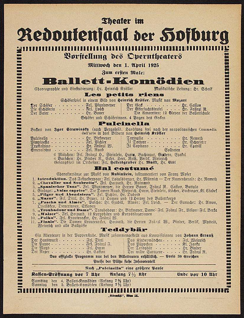 Ballett-Komödien von Wolfgang Amadeus Mozart