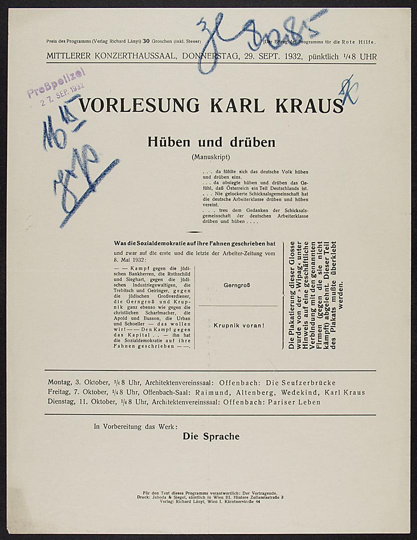 Vorlesung Karl Kraus von Karl Kraus