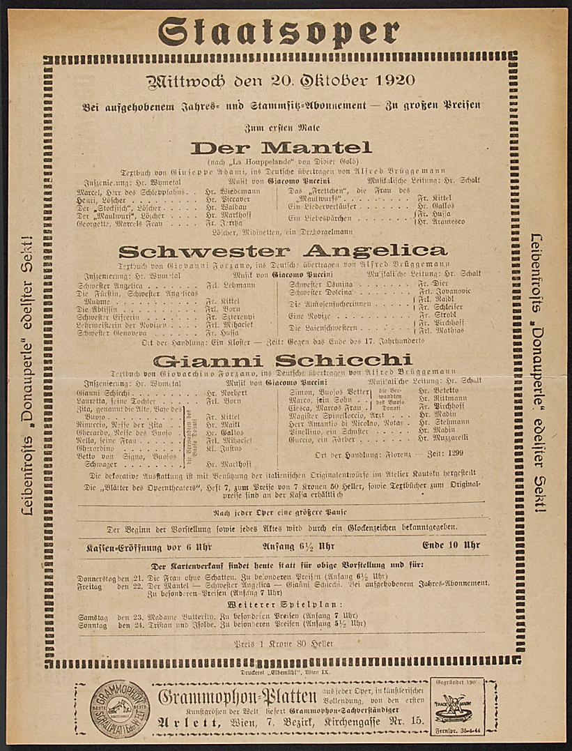 Der Mantel von Giacomo Puccini