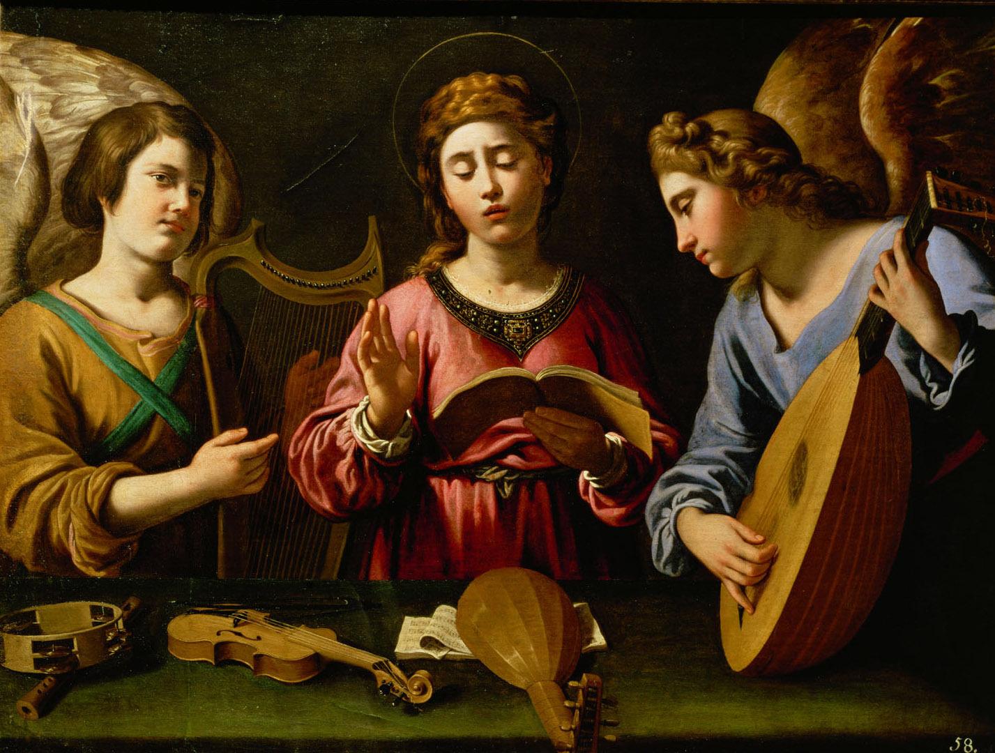 Singende Hl. Cäcilia mit zwei musizierenden Engeln von Antiveduto della Gramatica