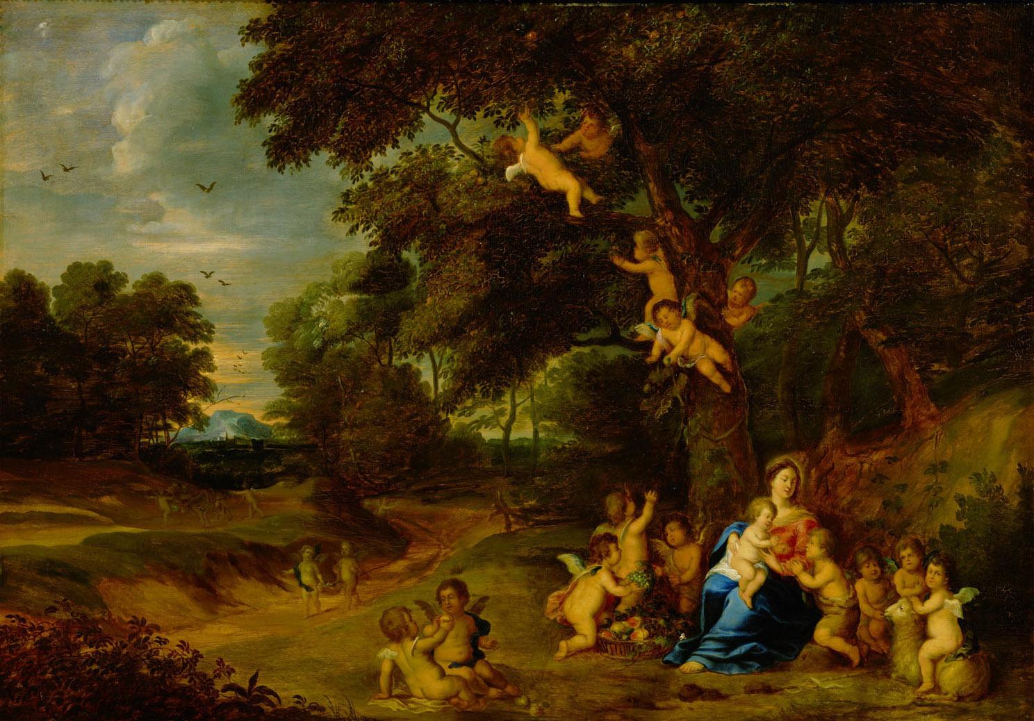 Maria mit Kind, Johannesknaben und Engeln in einer Waldlandschaft von Peeter van Avont