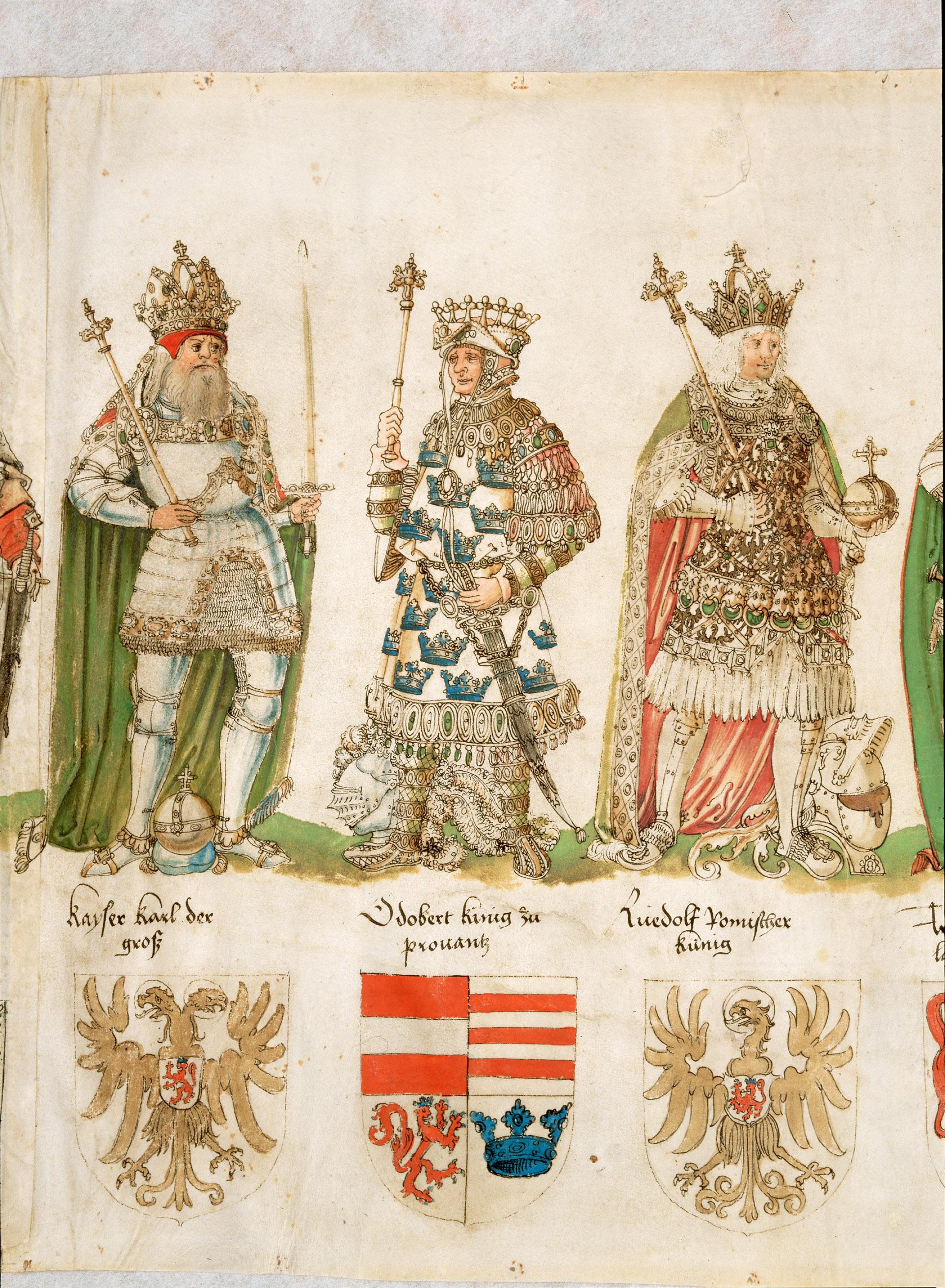39 Ahnen Maximilians I., vormals Köldererrolle von Jörg Kölderer