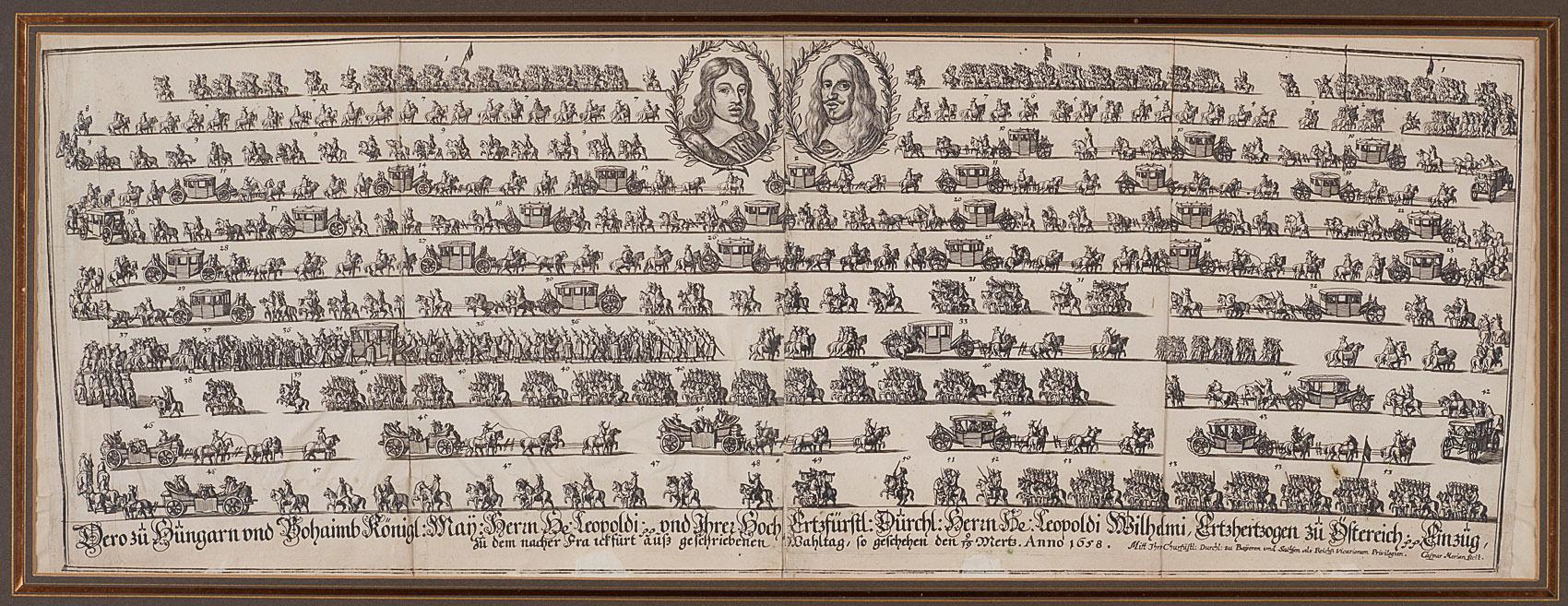 Einzug von Leopold I. und Erzherzog Leopold Wilhelm in Frankfurt im März 1658  von Caspar Merian
