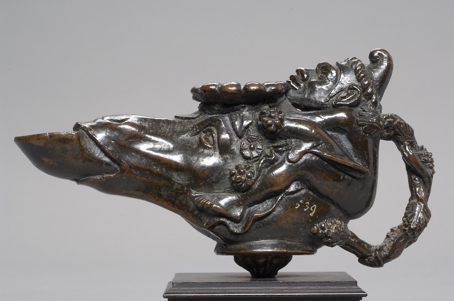 Öllampe in Gestalt eines Eselkopfes, auf dem ein Zwerg reitet von Andrea Briosco, gen. Riccio