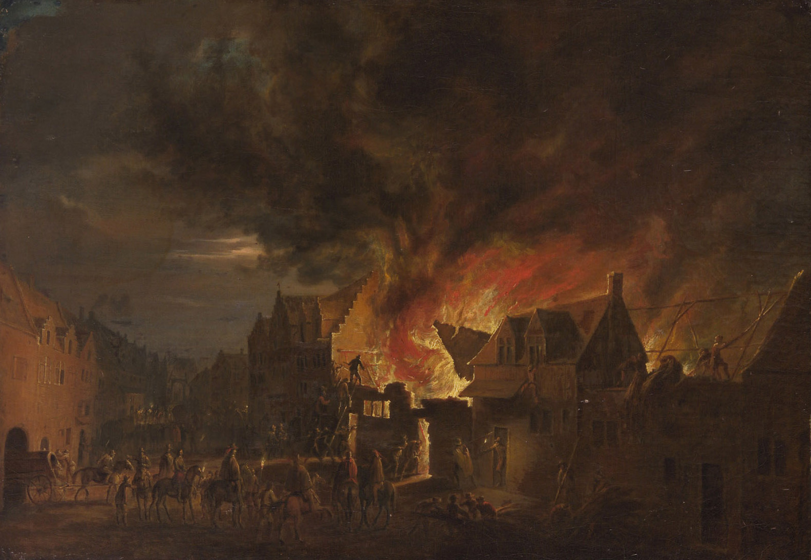 Erzherzog Leopold Wilhelm bei einem nächtlichen Brand von Robert van den Hoecke