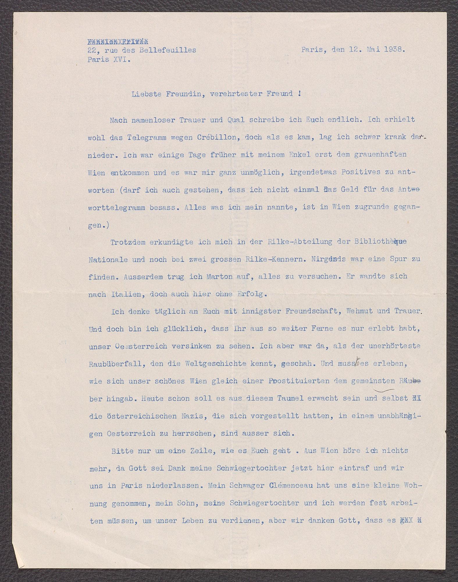 Brief von Berta Zuckerkandl