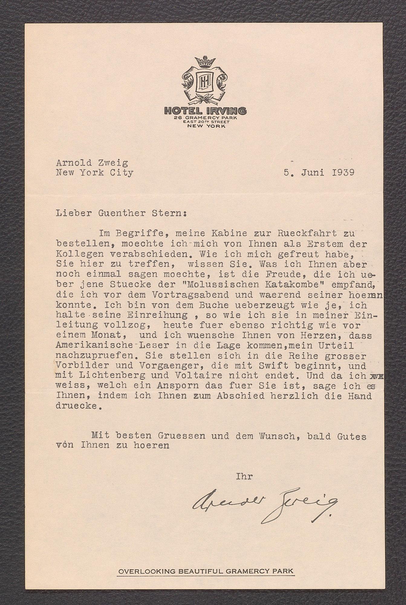 Brief von Arnold Zweig