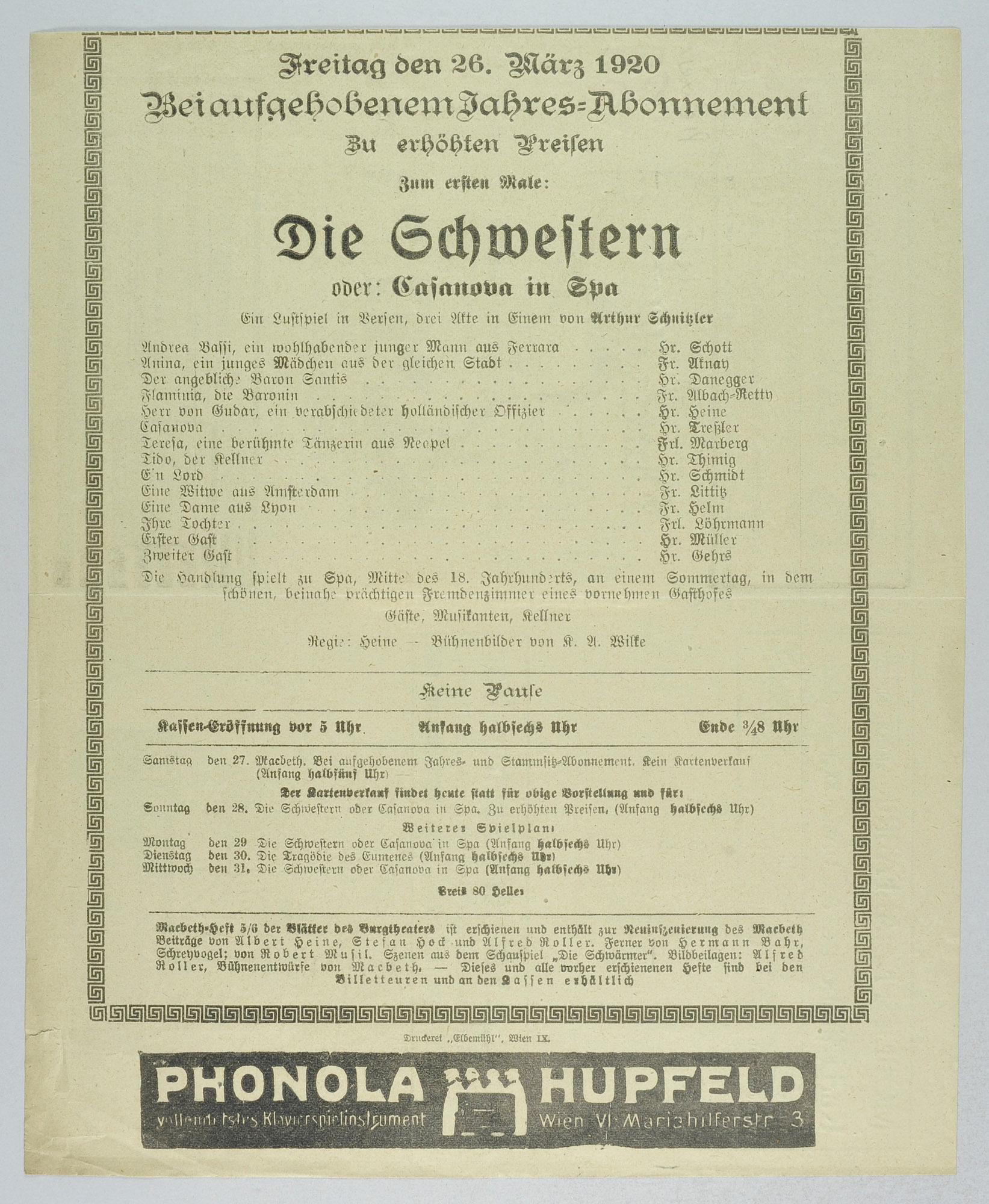 Die Schwestern oder Casanova in Spa von Arthur Schnitzler