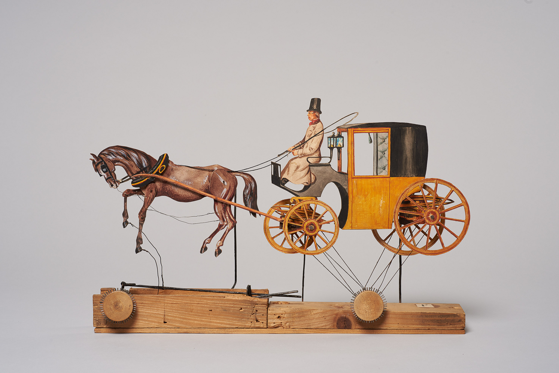 Kutsche mit Pferd und Kutscher von (nicht vergeben)