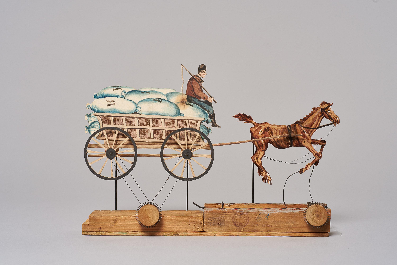 Fuhrwerk mit Kutscher und Pferd von (nicht vergeben)