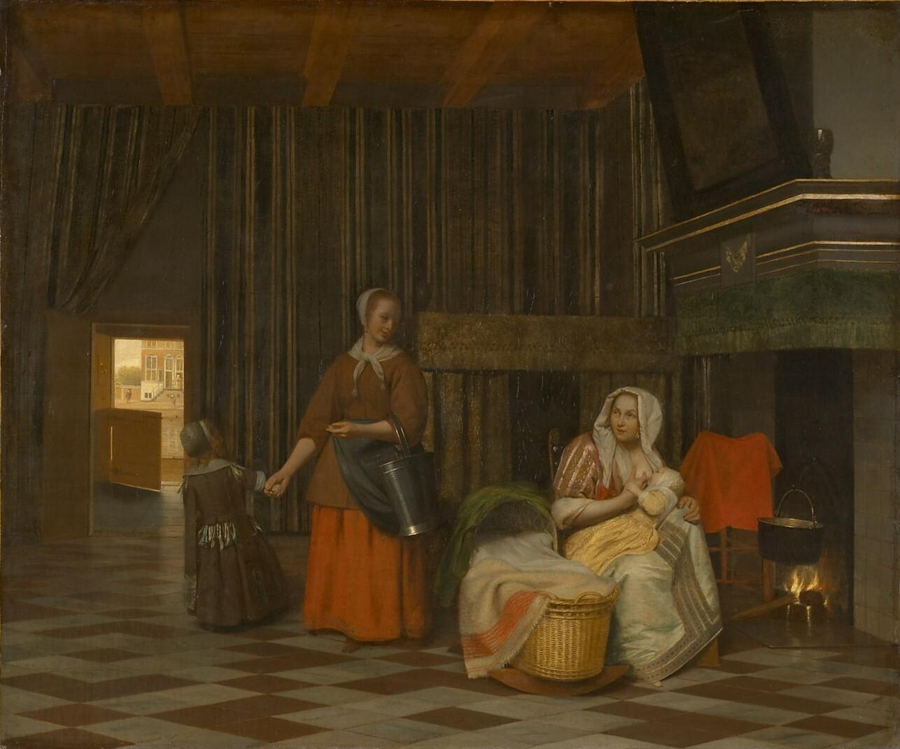 Frau mit Kind und Dienstmagd