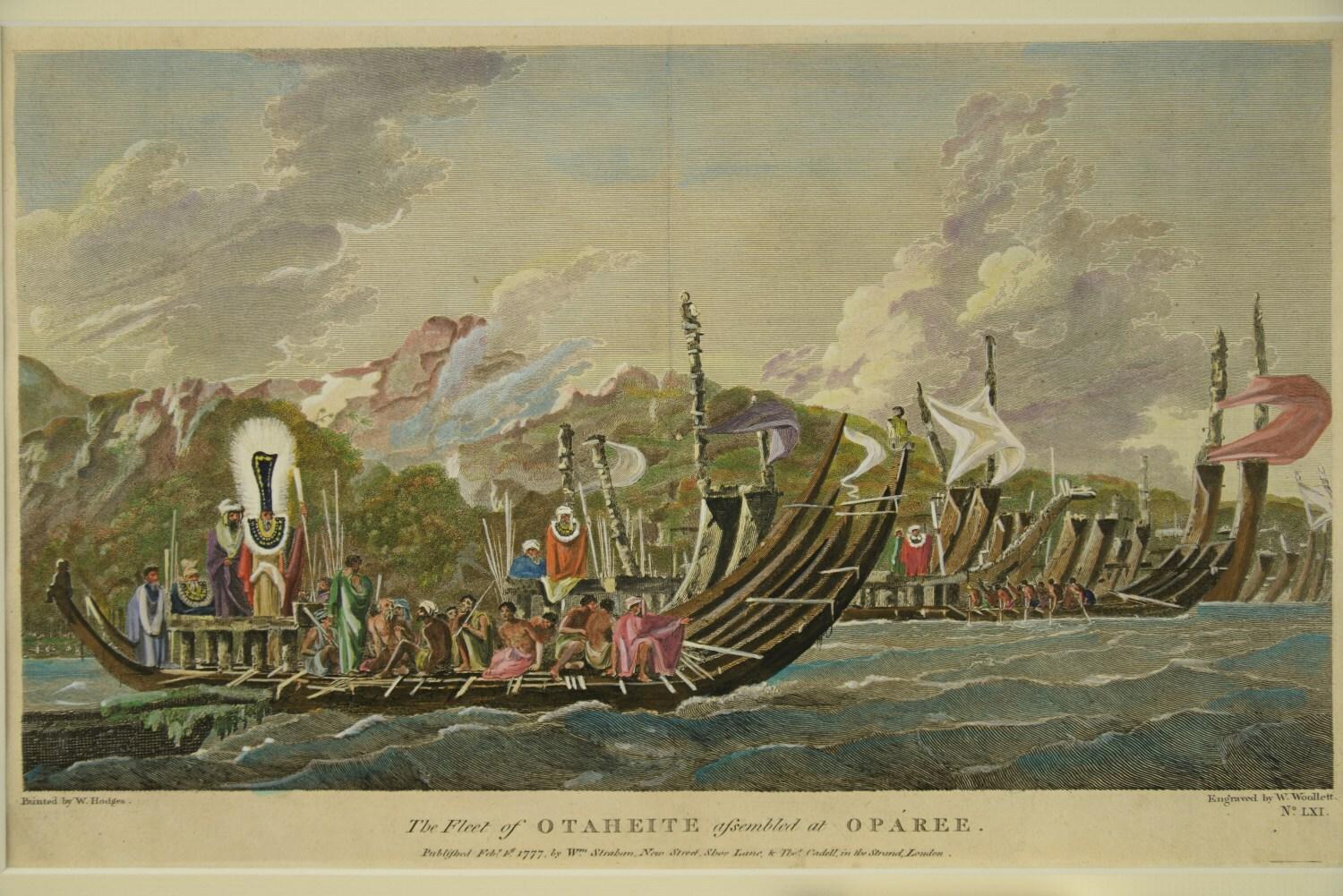 The fleet of OTAHEITE assembled at OPAREE von William Hodges